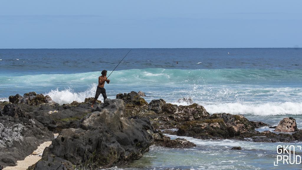 pêcheur pointe de Trois-Bassins Photographie Gko Prod