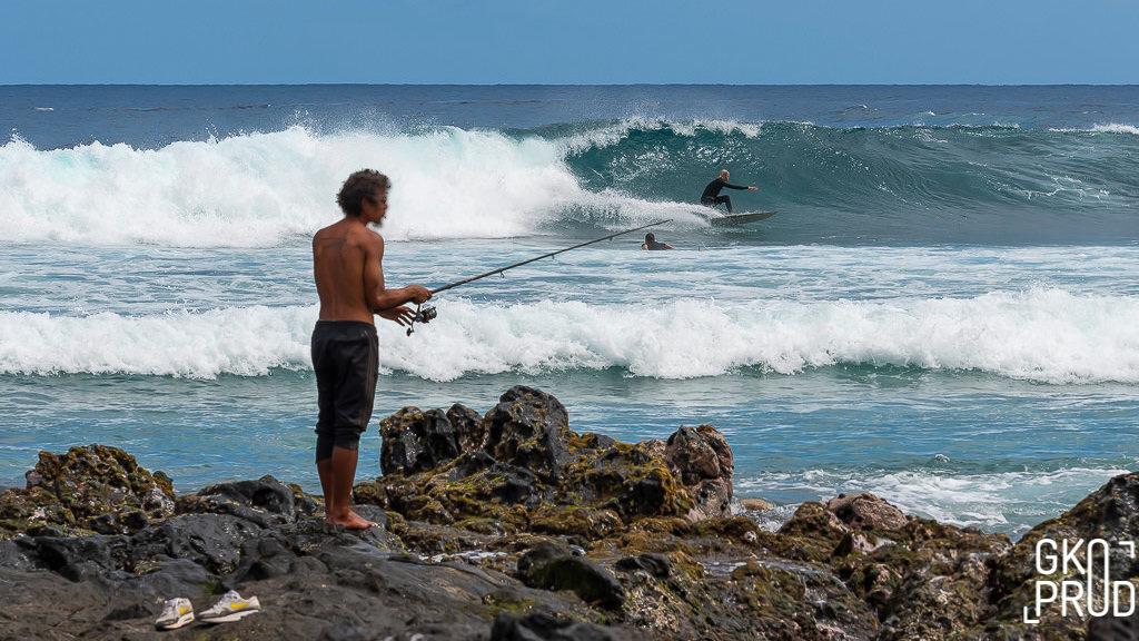 Pêcheur surf trois bassin réunion photographie Gko Prod