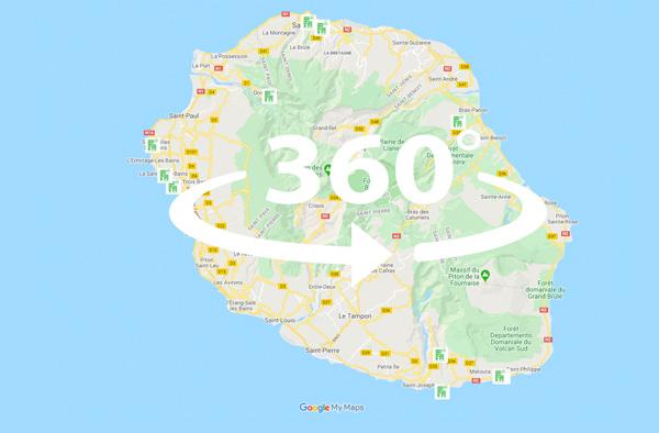 carte de l'île de La Réunion en visite 360 HD exclusivité